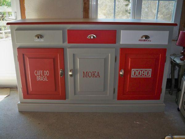 r alisation client buffet cuisine pochoir les mains et peindre. Black Bedroom Furniture Sets. Home Design Ideas