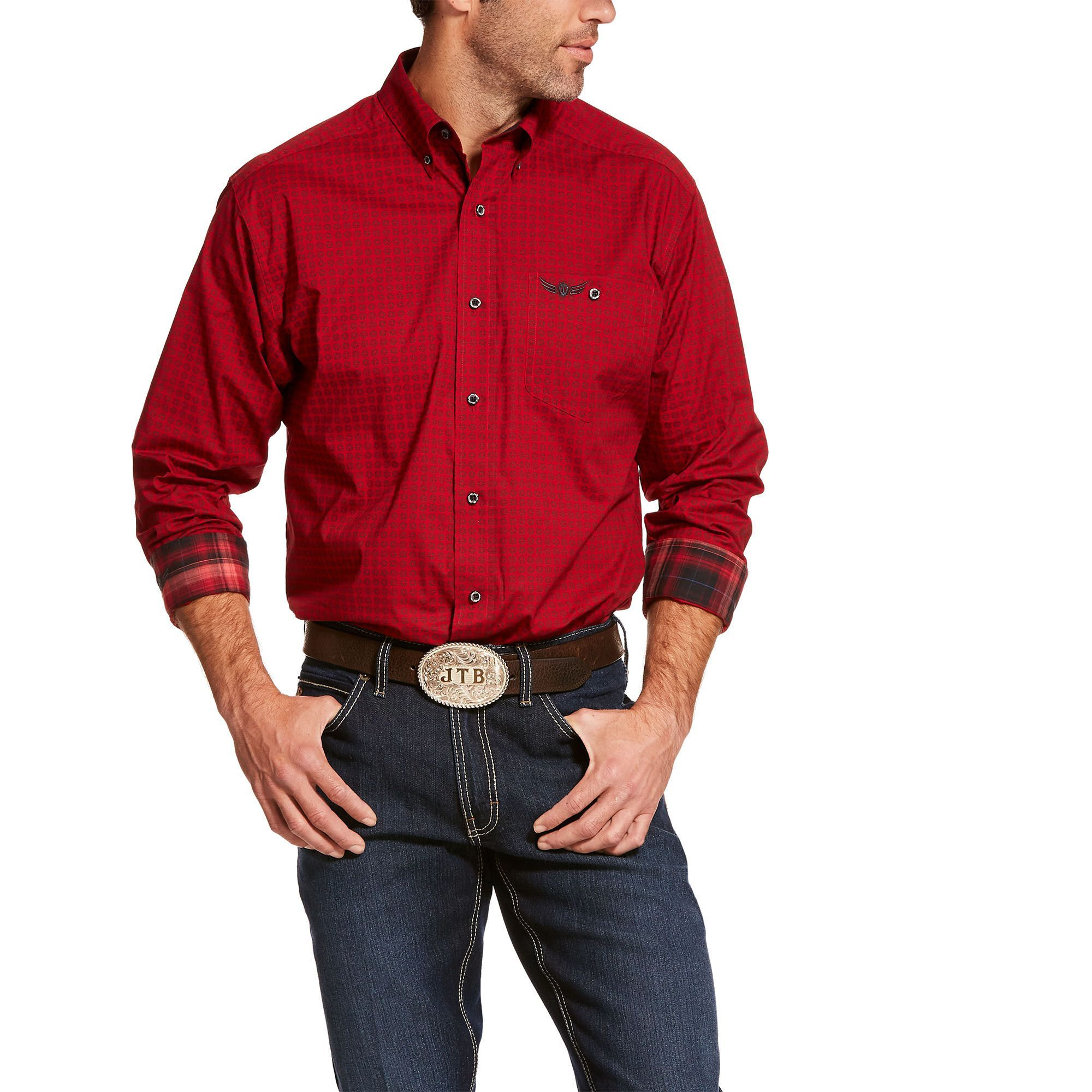 Mens Relentless Power Stretch Classic Fit Shirt in Laylow Red Cotton 2X-Large by Ariat - Fitness Shi...