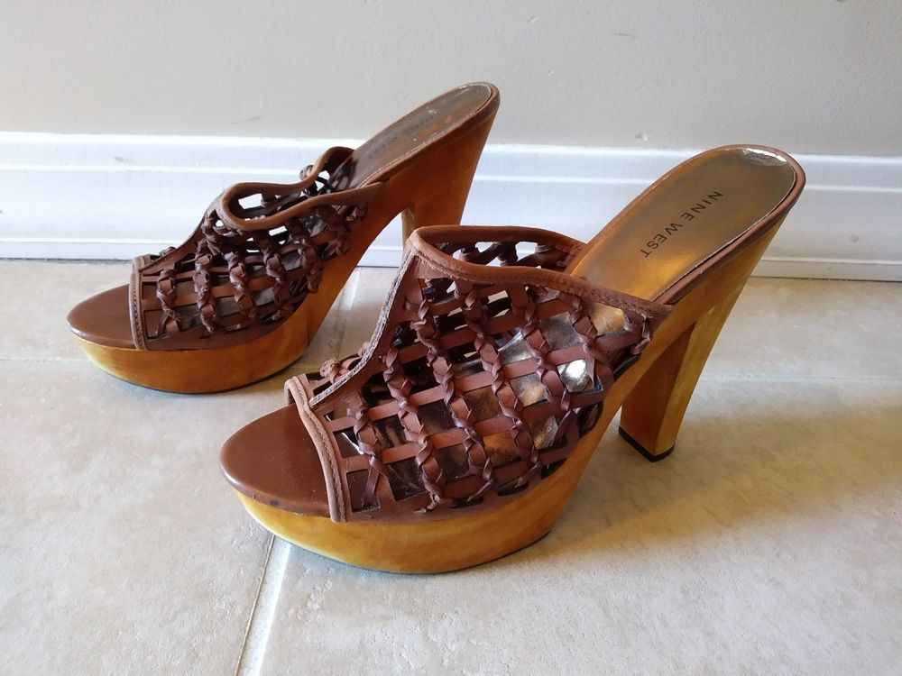 09030e111f7 Nine West Braided Leather Wooden Platform Heel Sandal Size 9.5 M Pineapple