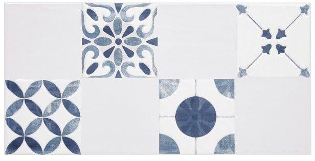 Carrelage bleu maiolica pour décoration 20x40 cm Ref402482 - brico carrelage salle de bain