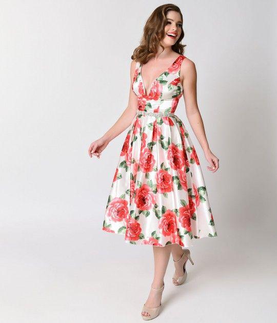 Vintage 1950s Style Pink & White Floral Satin Tea Length Swing Dress ...