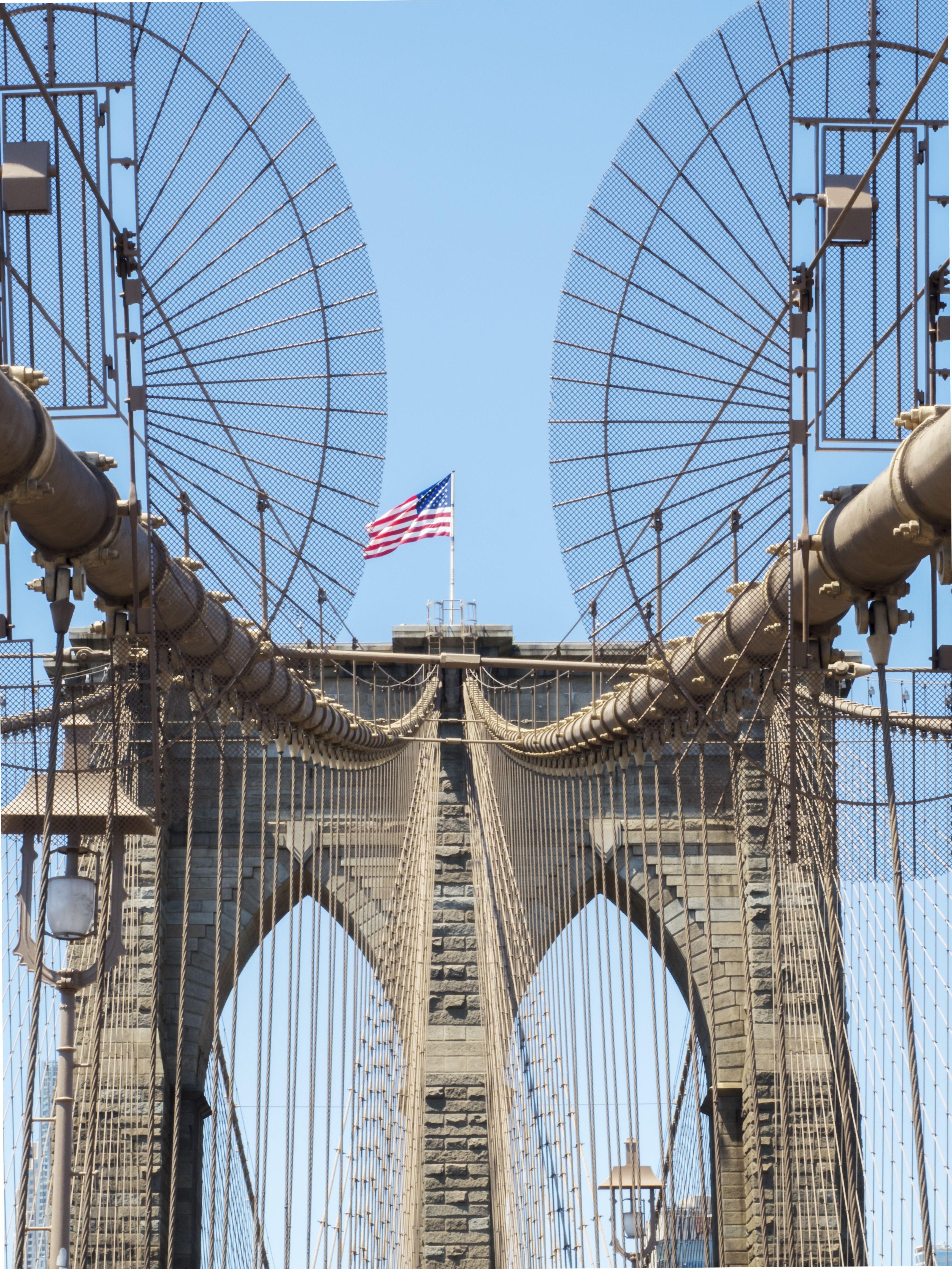New York Brooklyn Bridge Tower With Usa Flag Brooklyn New York