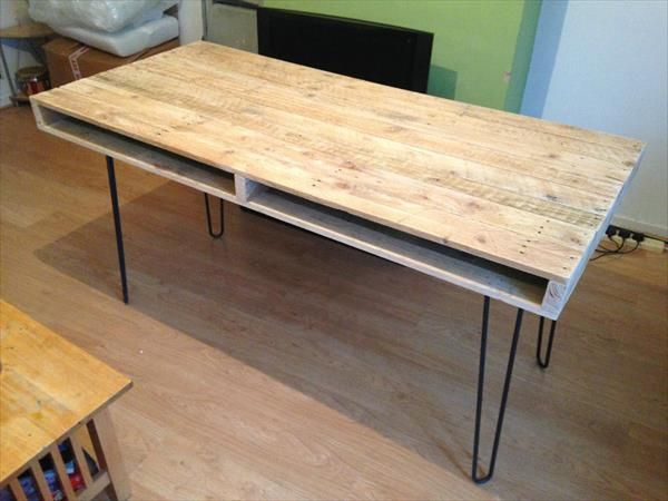 Diy Pallet Slim Dining Table And Computer Desk