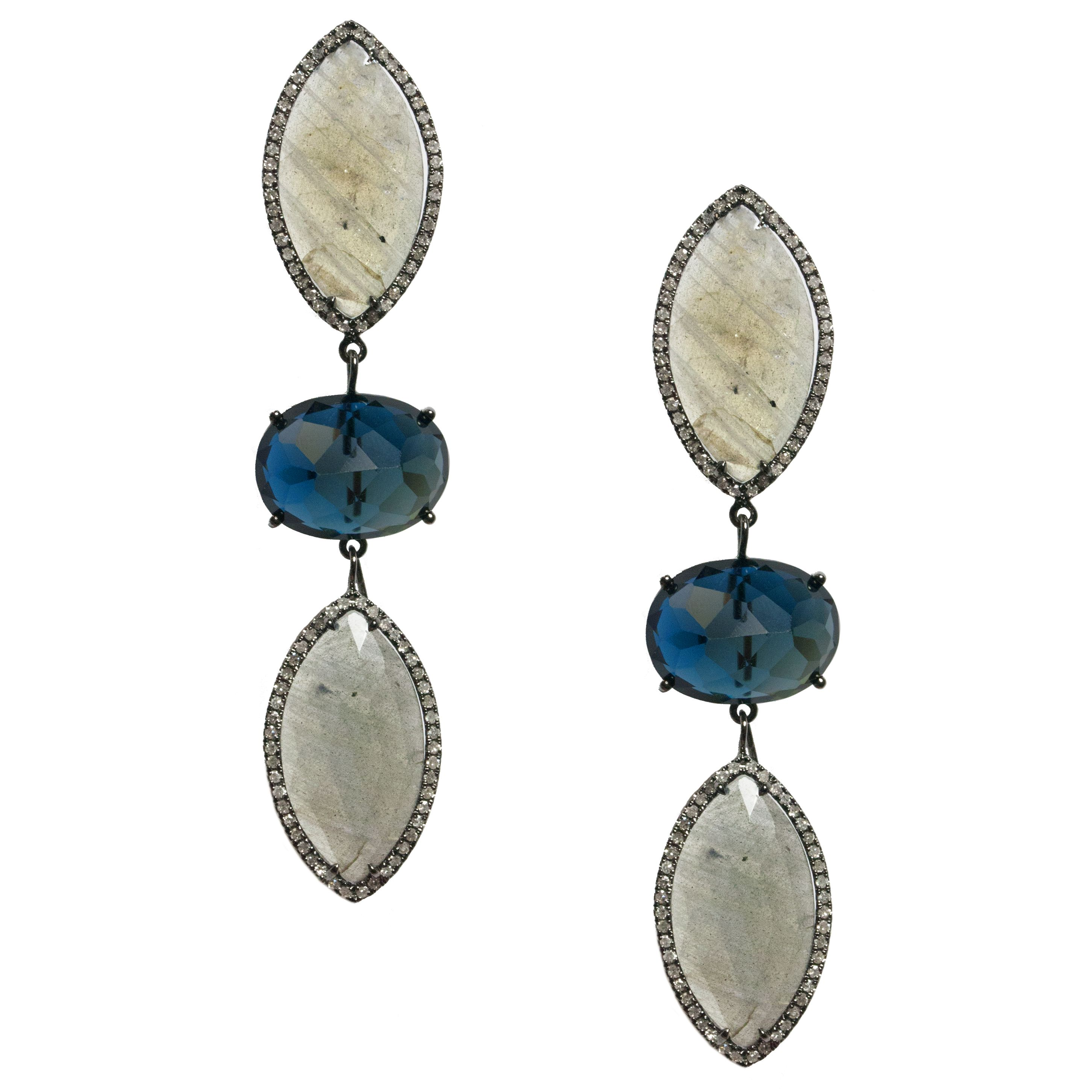 Nora Earrings - Labradorite, London Blue Topaz, Diamonds, Sterling Silver - by Meredith Marks Designs