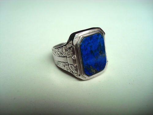 Herren Ring Silber 925 mit Lapislazuli Siegelring Art alt