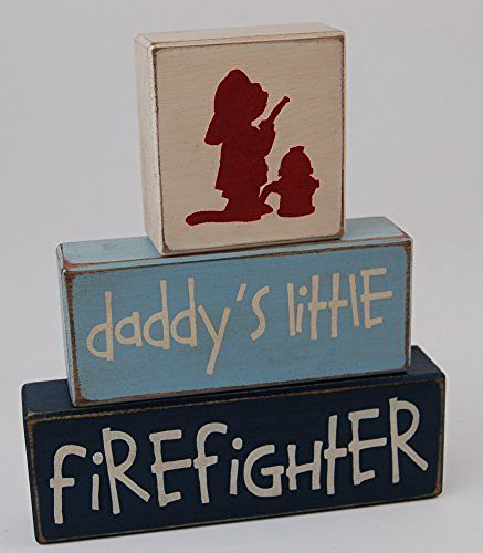Firefighter Room · Daddyu0027s Little Firefighter   Fireman Theme Primitive  Country Wood Stacking Sign Blocks Baby Shower Gift