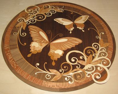 inlaid wood entry way floors  GDI13  Custom medallion