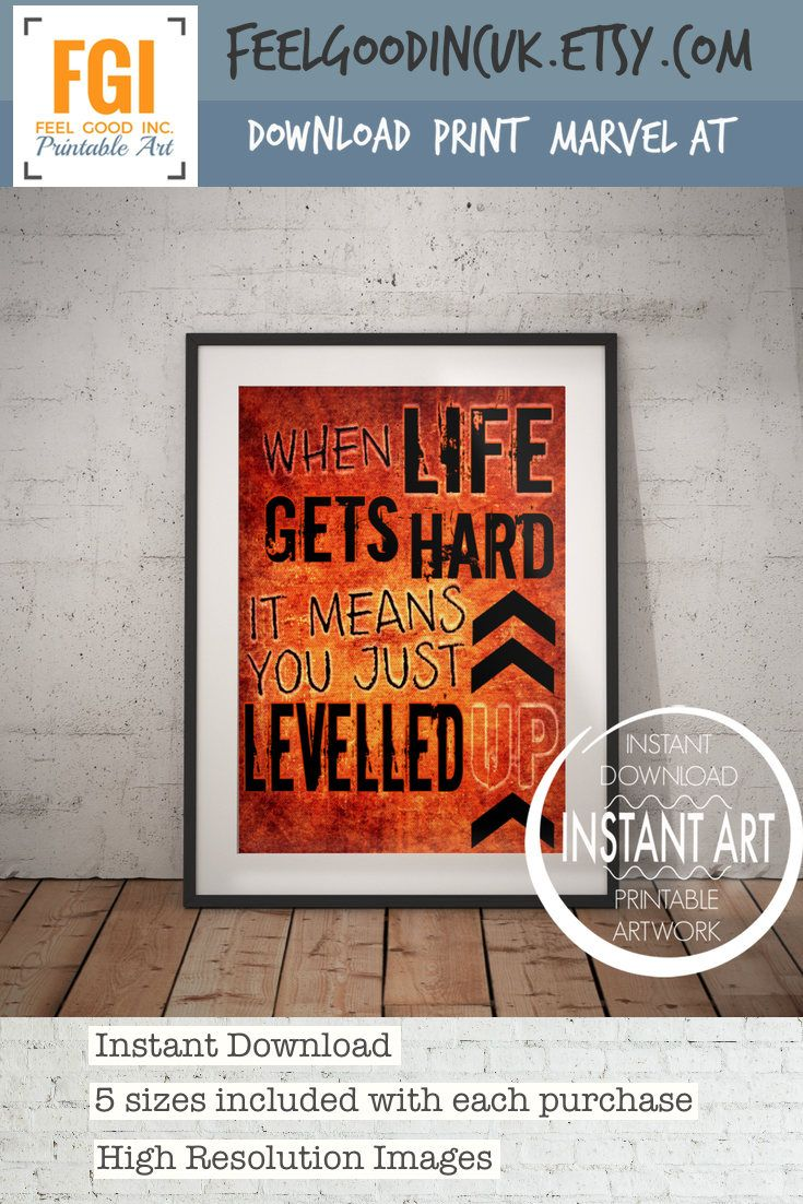 Level Up - VIDEO GAME POSTER - When life gets hard - Levelled Up ...