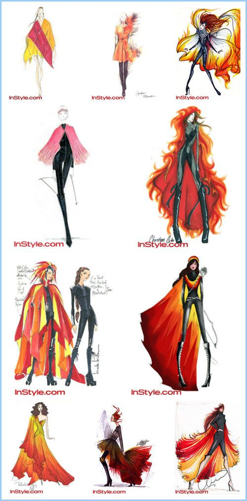 Big Name Designers Sketch Katniss Everdeen S Fire Gown