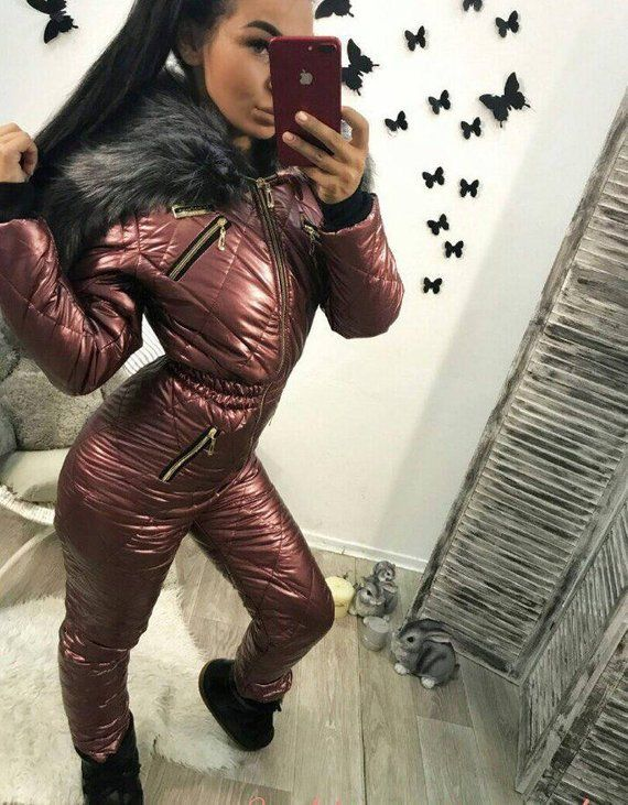 7d0b53e9ed Winter Jumpsuit Sport Ski Suit Set Romper Warm Playsuit Fur Silver Black  Wine Red Pink Snowboard Sno