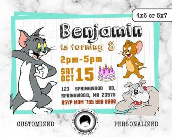 Tom and Jerry Birthday Invitation Tom and Jerry Invite Cartoon