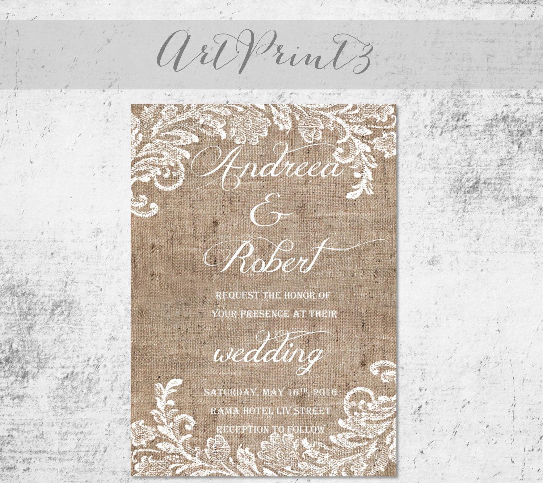 Burlap and Lace Printable Wedding Invitation, Rustic Wedding ...