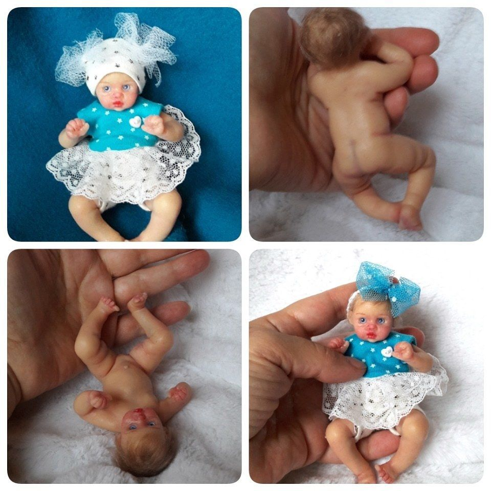 Full Silicone Baby Doll 4 3 Mini Silicone Doll Anna Painted Rooting Hair Blonde Kovaleva Siliconebaby Minireb Silicone Baby Dolls Baby Dolls Silicone Dolls