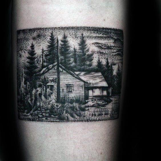 40 Log Cabin Tattoo Designs für Männer - Ideen für