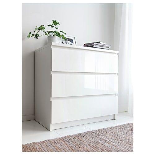 Ikea Malm Cassettiera 3 Cassetti.Cassettiera Con 3 Cassetti Malm Bianco Lucido Nel 2019 Ikea