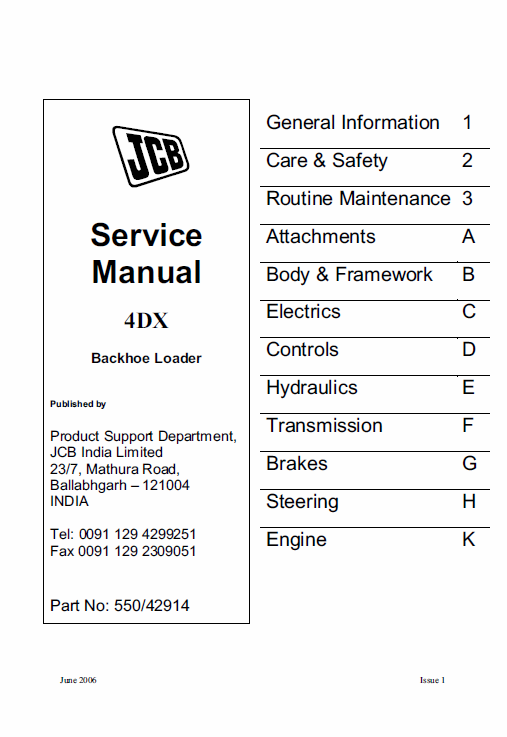 Jcb 4dx Backhoe Loader Service Manual With Images Backhoe
