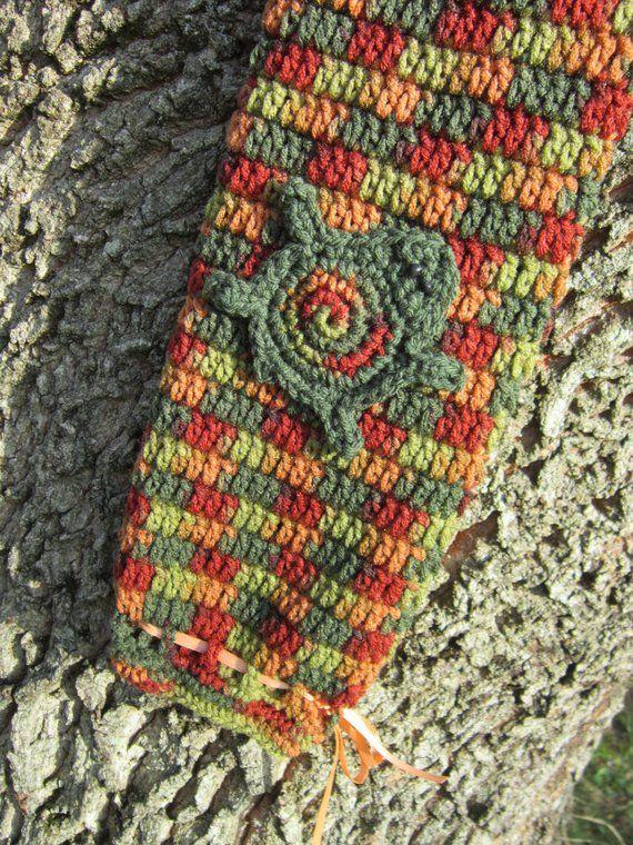 Crochet Turtle Plastic Bag Holder Greens, Rusts and Browns, Turtle Kitchen Decor in Fall Colors, Earthtones Walmart Bag Holder #crochetturtles