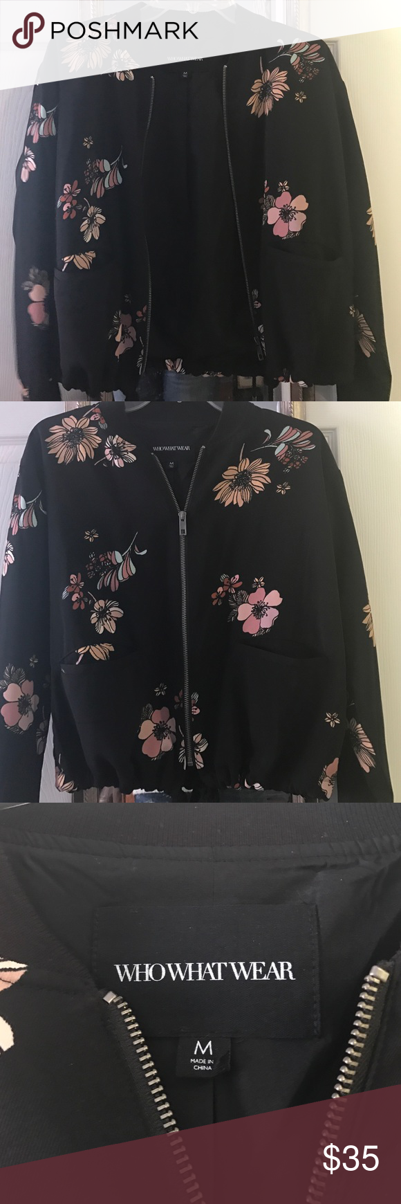 Floral Bomber Jacket Who What Wear collection floral bomber jacket- great neutral colored flowers goes with anything! Size Medium- fall 2016 purchase, only worn once. who what wear Jackets & Coats