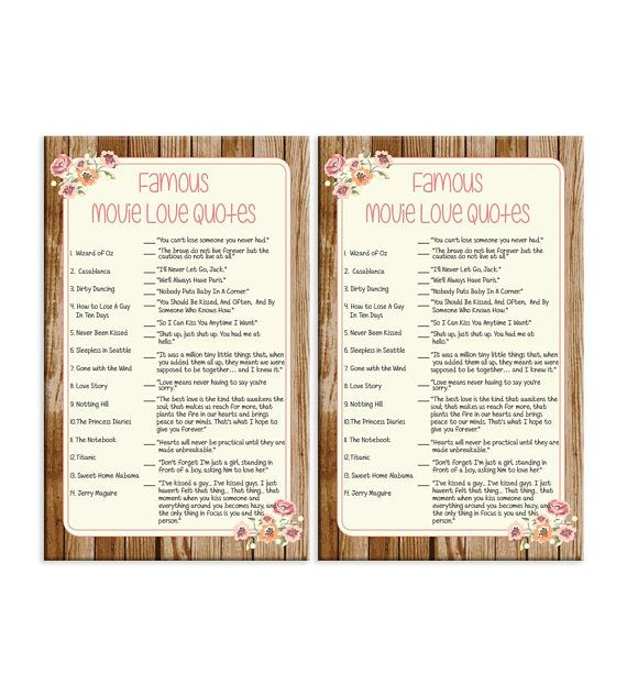 Famous Movie Love Quotes Instant Download Bridal Shower Game It Has