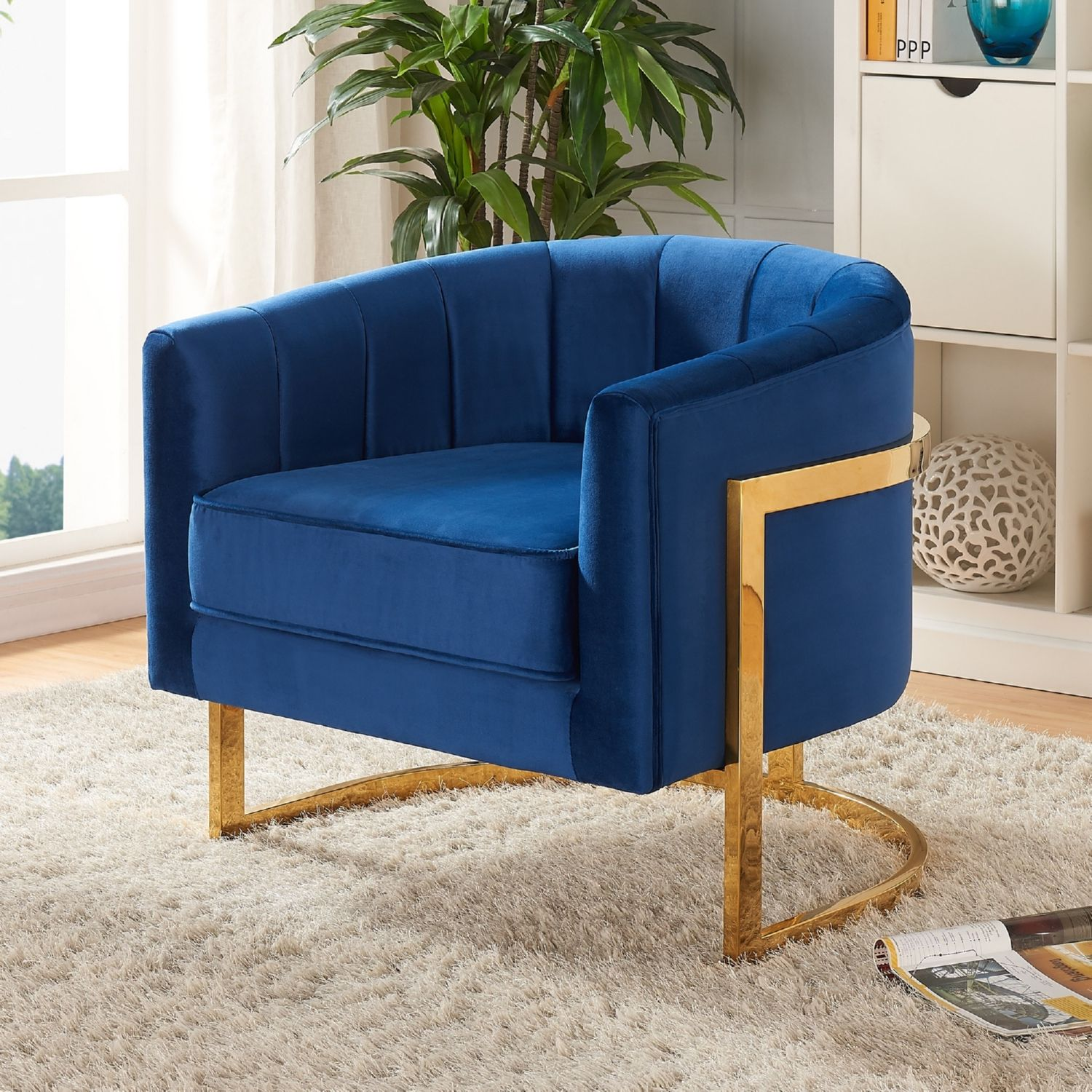 Best Carter Accent Chair In Navy Velvet On Gold Stainless W 400 x 300