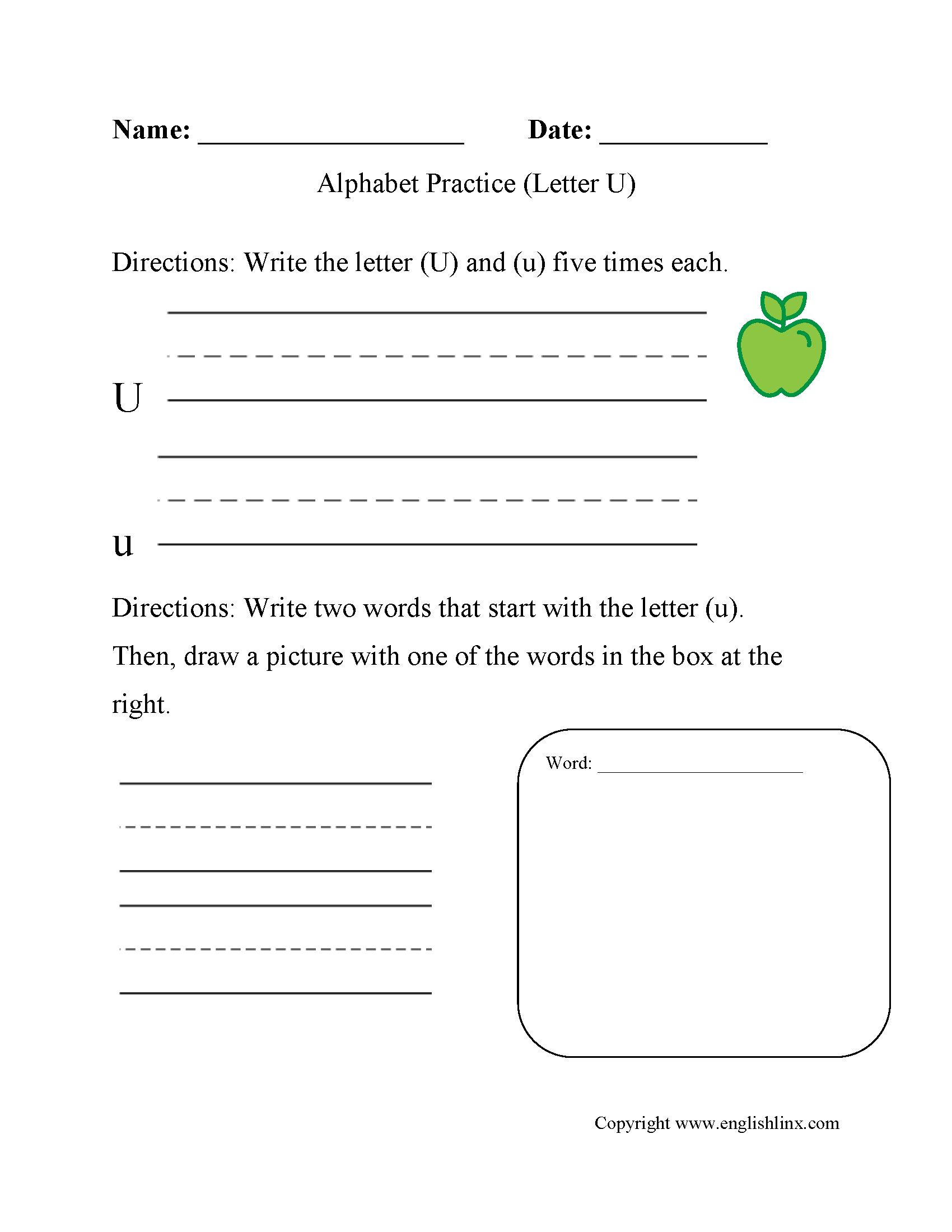 Alphabet Worksheet Letter U