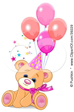 Clipart Illustration Of A Cute Feale Birthday Bear Wearing