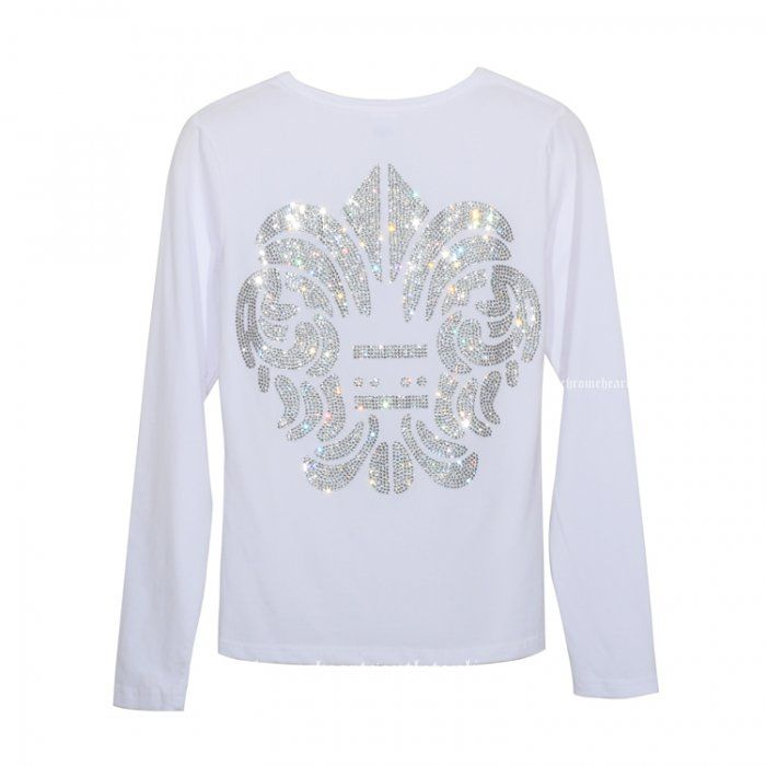 Popular Diamonds Army Flowers White Long Sleeves TShirt