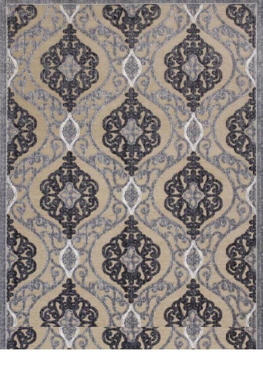 Kas Rugs Anna 8724 Sand Grey Medallia Machine Woven