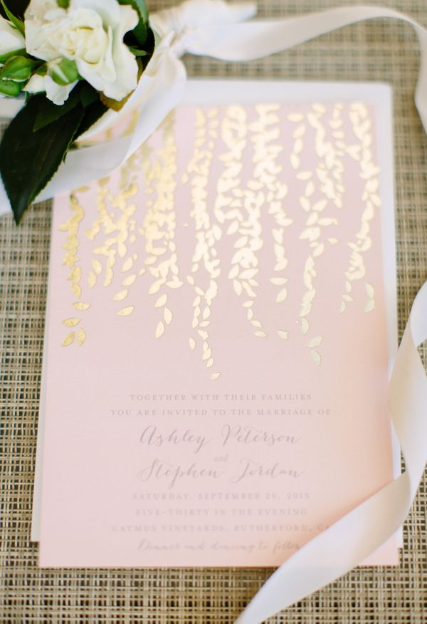 champagne blush wedding invitations%0A Blush  gold  shimmering invites    Megan Clouse Photography