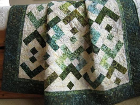 Patchwork Quilt Batik Quilt Green Teal Quilt52 x 60This batik quilt was made using a mix of green and teal fabrics Its a wonderful selection of fabrics that would blend w...