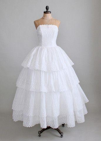 Vintage 1950s White Organdy Eyelet Wedding Dress