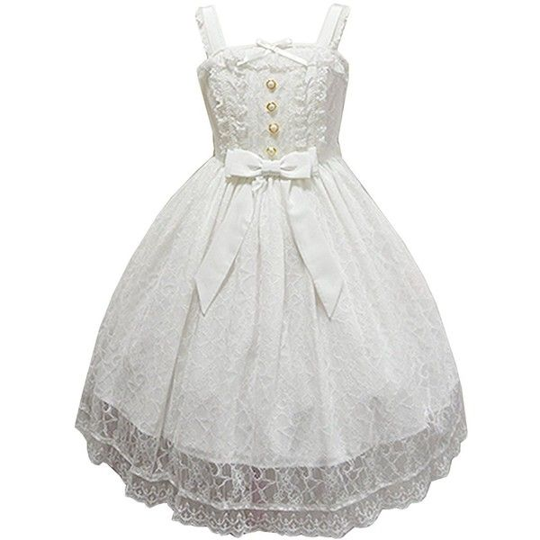 Partiss Womens Vintage Bowknots Lace Sleevess Sweet Classic Lolita... ($90) ❤ liked on Polyvore featuring dresses, lacy dress, lace dress, lacy white dress, vintage white dress and vintage dresses