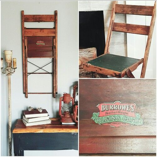 Vintage Folding Chair Hanging On Wall. Love It!!