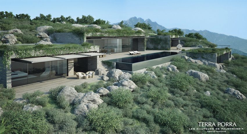 Corsican mountain view villas visualized mountain side villa with pool in full sun
