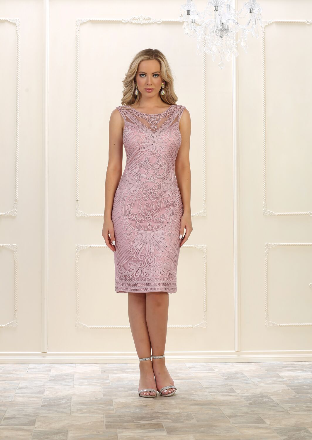 f4ad3a8b5a9 This modest mother of the bride short dress features sleeveless with v back  design