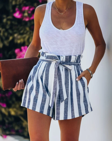 Sand Dunes Cotton + Linen Pocketed Striped Shorts - Navy