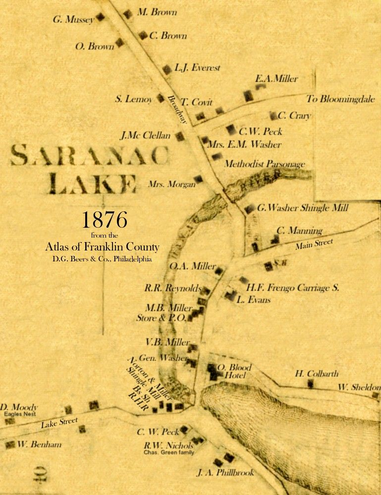 1876 Map of Saranac Lake, NY,in the Adirondack Mts