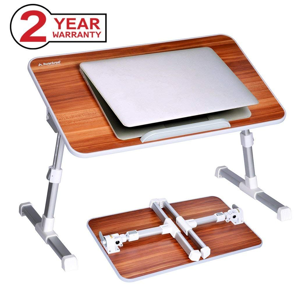 Portable Bamboo Folding Standing Bed Desk Computer Stand Laptop Desk Table US