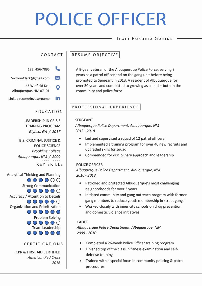 Law enforcement resume examples unique police ficer resume