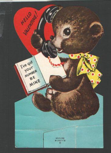 Vintage Childs Valentines Day Card Bear on Phone I've got Your Number | eBay