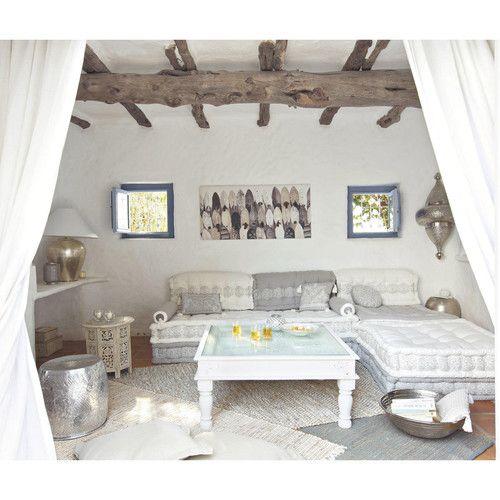 Banquette d 39 angle modulable 6 places en goa gris m taux et tables - Banquette maison du monde occasion ...
