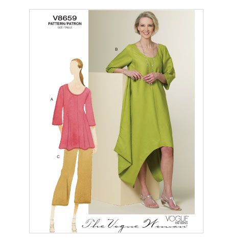 V8659 | Misses\'/Misses\' Petite Tunic, Dress and Pants | The Vogue ...