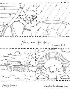 Noah and the Ark Coloring Pages- sequence activity for