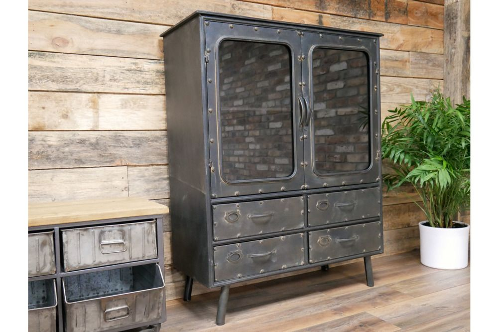 Industrial Style Cabinet Metal Storage Unit With Drawers H113cm X