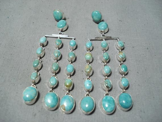 Rob Platero Navajo Royston Turquoise Sterling Silver Earrings Native American – Make An Offer!