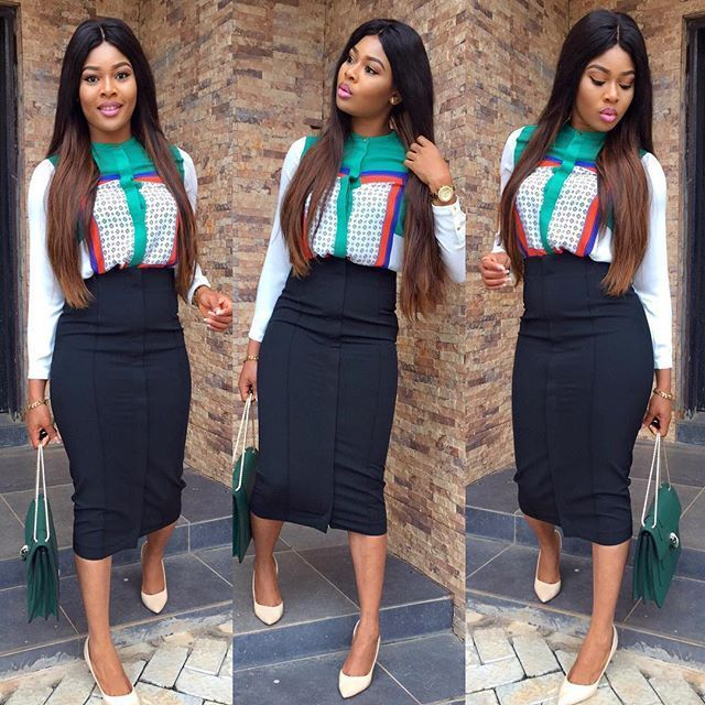Image result for nigerian wearing pencil skirt to work