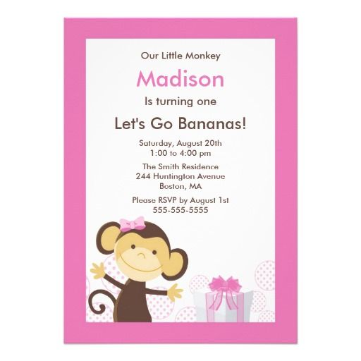 Cute monkey girl birthday invitation invitations girl birthday cute monkey girl birthday invitation filmwisefo Choice Image