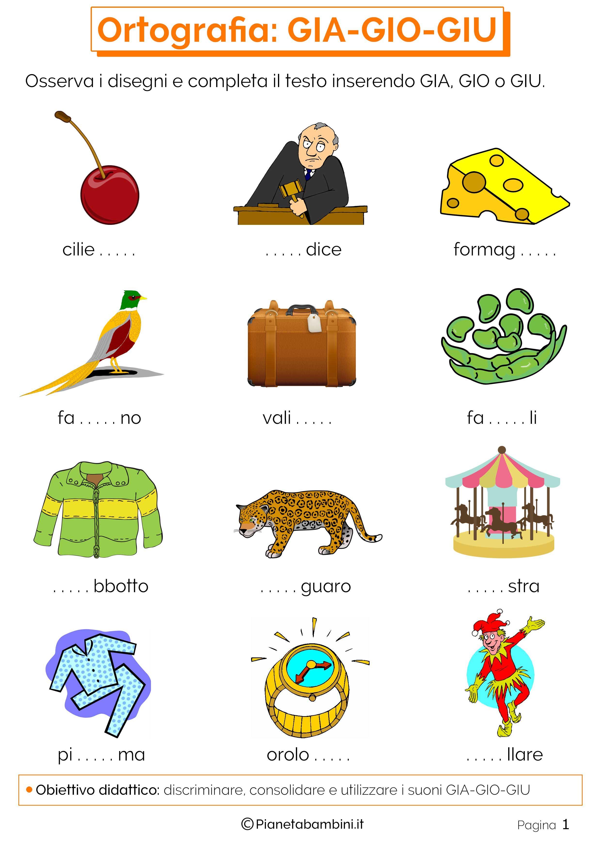 Risultati immagini per schede su gi ghi ortografia school education e peanuts comics for Parole con gi