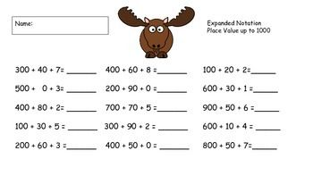 Fill in the blanks with these motivating Moose Math