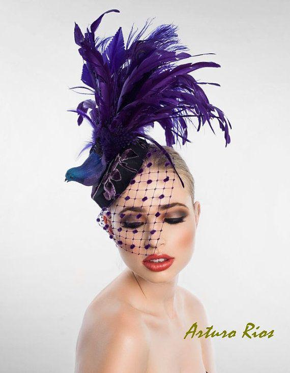 Fantasy Bird Fascinator Headpiece Cocktail hat by ArturoRios, $198.00